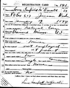Lorne S. McDonald Draft Card