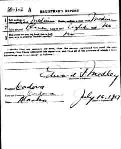 Page 2 of Lorne's draft card