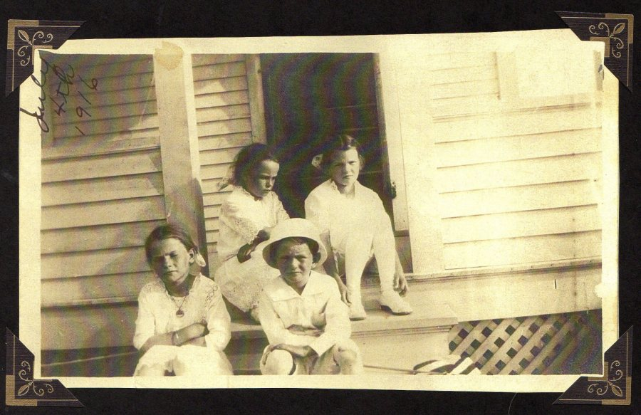 Keith and his sisters in Grand Prairie July 4, 1916