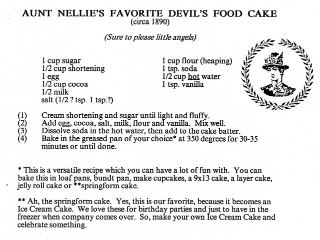Nellie's Cake Recipe ca 1890