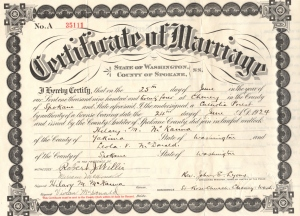 Vivian and Hilary's Marriage Certificate