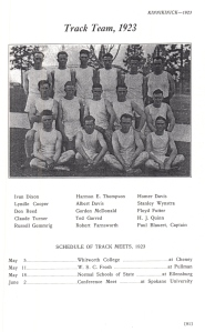 Gordon was part of the track team for the Normal School 1923