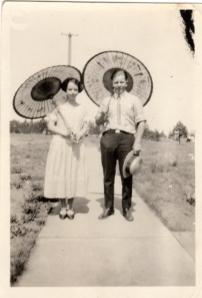 Vivian and Gordon 1925 with parasol's.