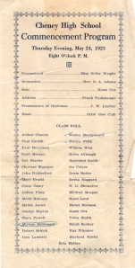1923 Normal School Commencement Program, Cheney, WA