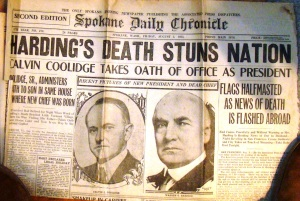 Harding's death Coolidge's takes office 1923