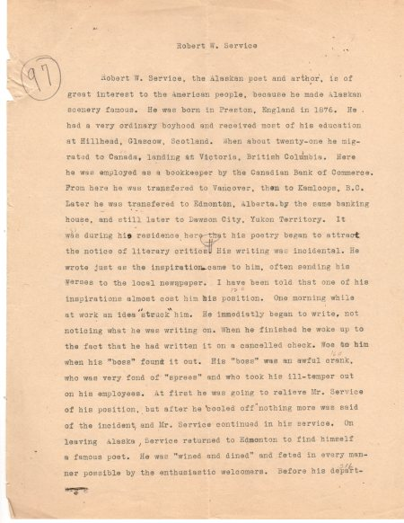 Eddie's school manuscript about R. W. Service circa 1923