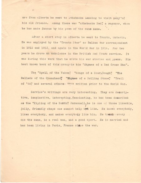 Eddie's manuscript page two about R. W. Service