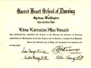 Eddie's Diploma from Sacred Heart Nursing School 1928