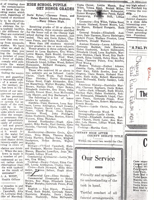 Honor Students Feb 1924