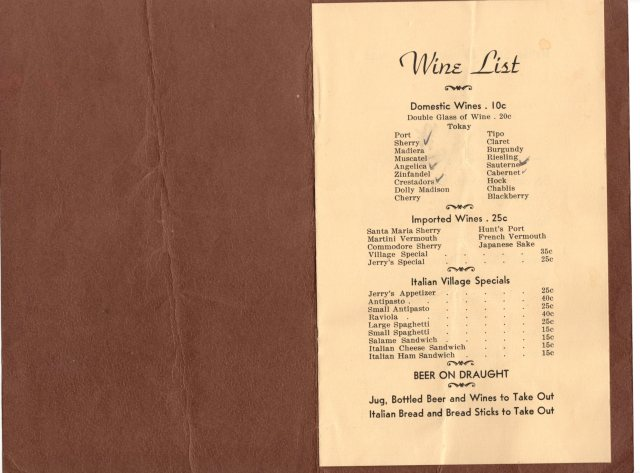 The Menu for the Cooking Class 1923