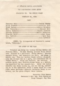 Program for a Play 1924
