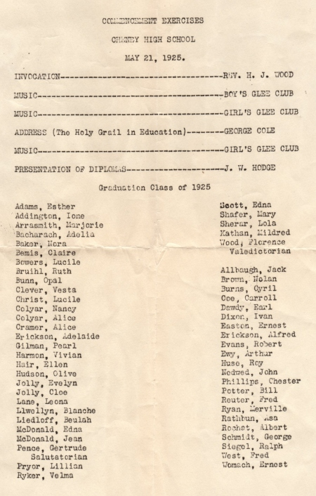 Cheney High School Graduation program 1925