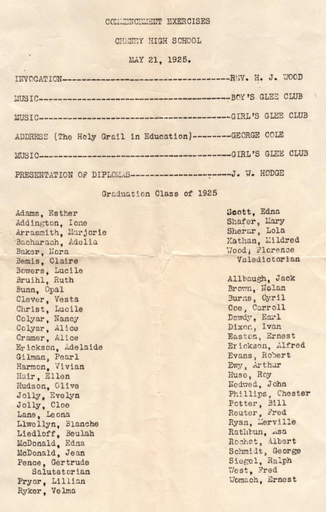 Cheney High School Graduation program 1925