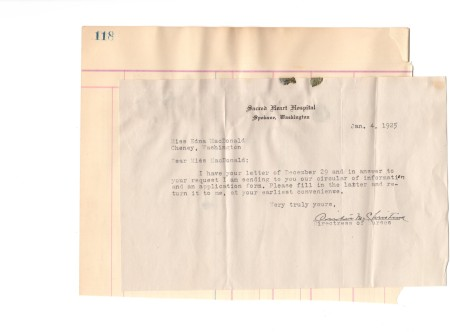Letter for application to Sacred Heart Nursing School 1925