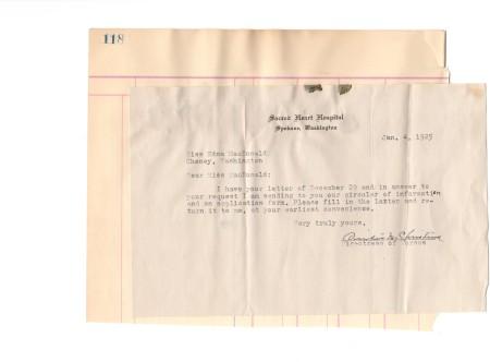 Letter for application to Sacred Heart Nursing School 1925