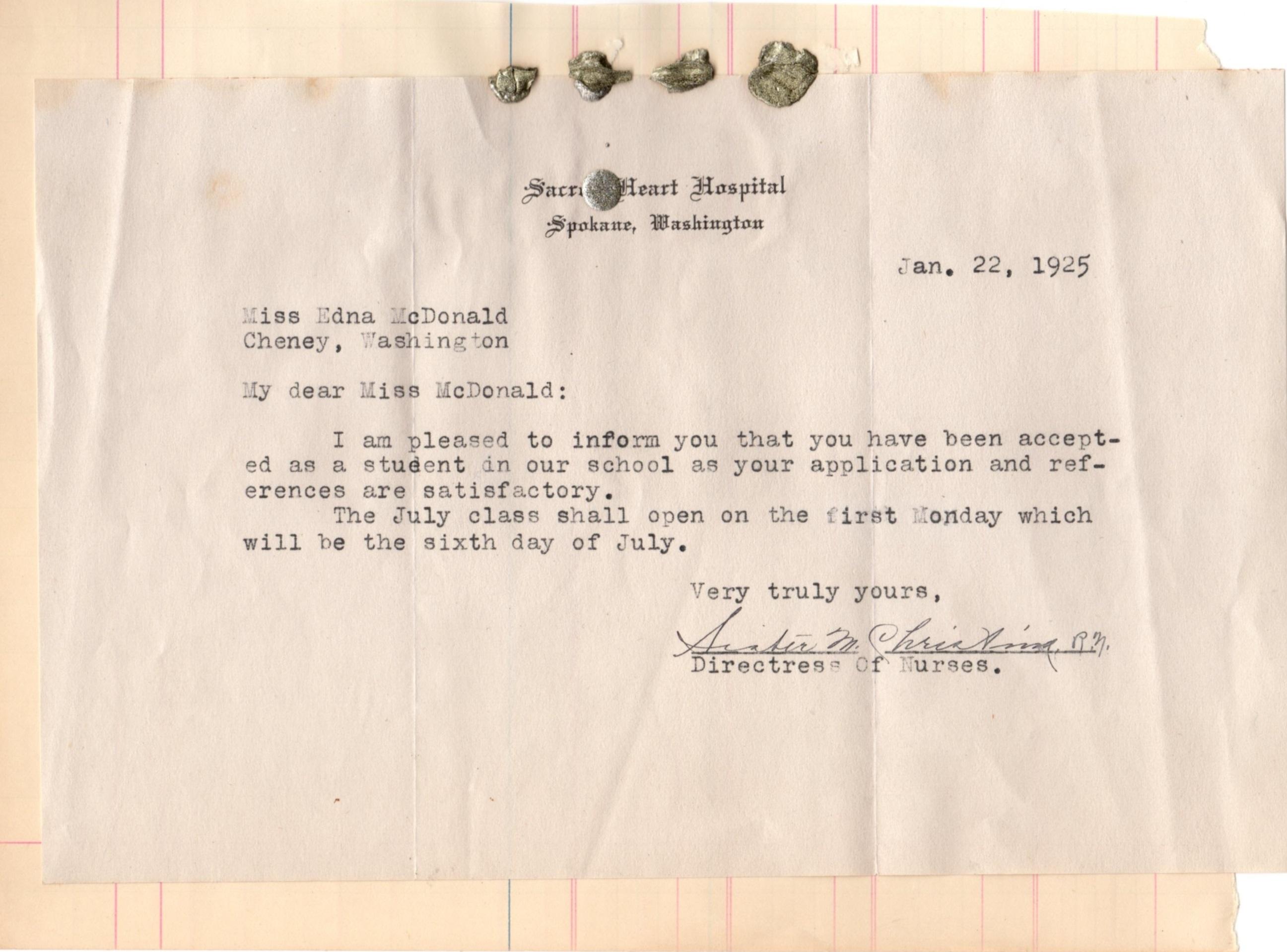 Letter Of Acceptance For Eddie To Sacred Heart Nurses School Spokane WA 1925