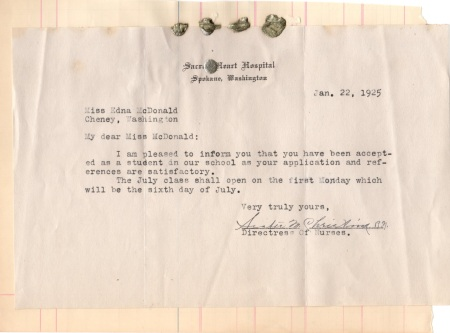 Letter of Acceptance for Eddie to Sacred Heart Nurses School, Spokane WA 1925