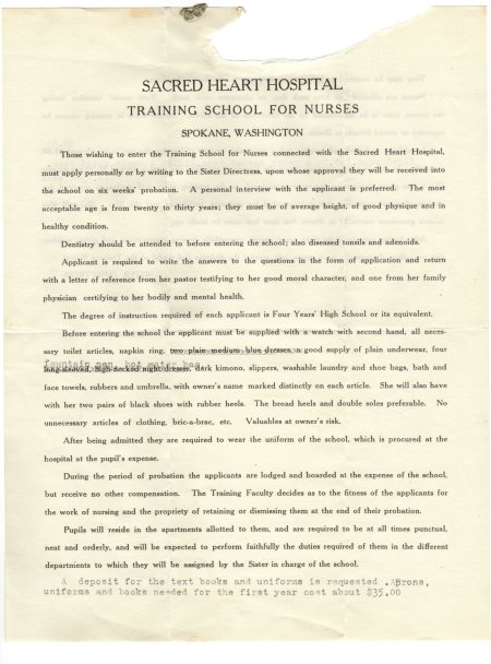 Rules for the Nurses at Sacred Heart 1925