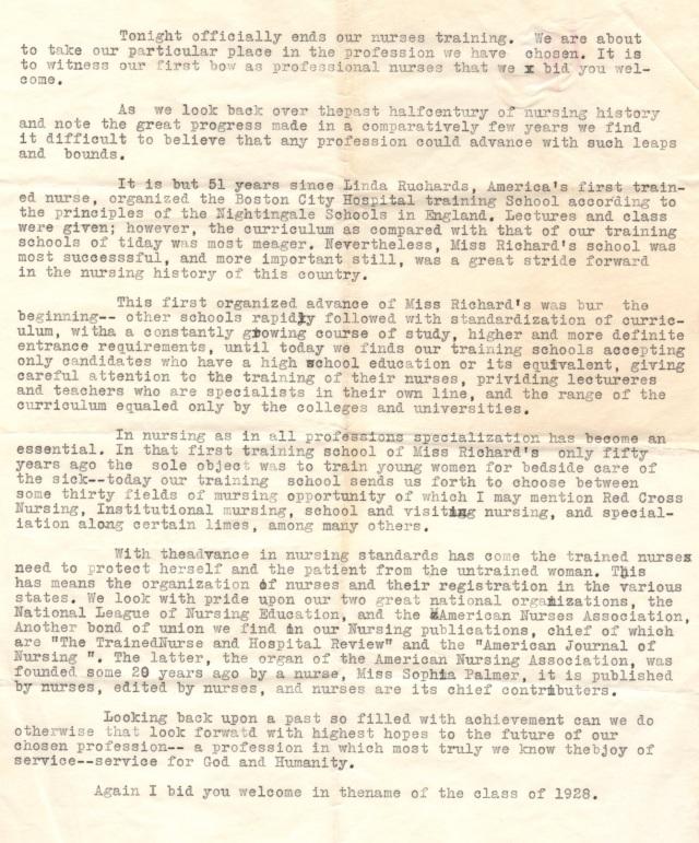 A Speech for Graduation, 1928 Sacred Heart