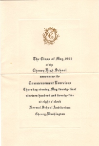 Eddie's invitation to graduation 1925 CHS