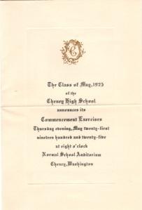 Eddie's invitation to graduation 1925 CHS