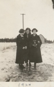 Jean, Eddie and unknown friend, Winter 1924.