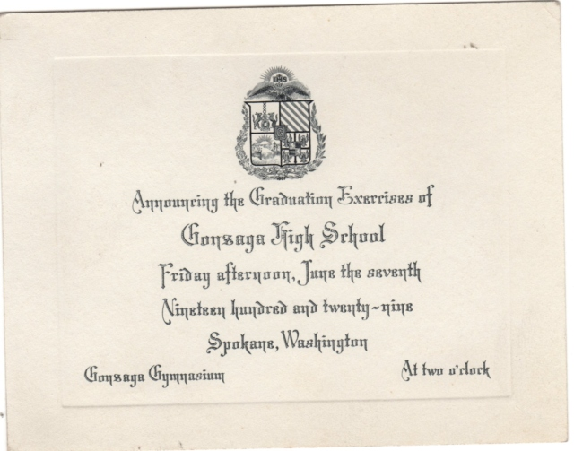 The Announcement for the graduating ceremonies for Gonzaga for 1929