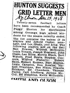 Football Letters awarded to the players in 1928 Gonzaga High School