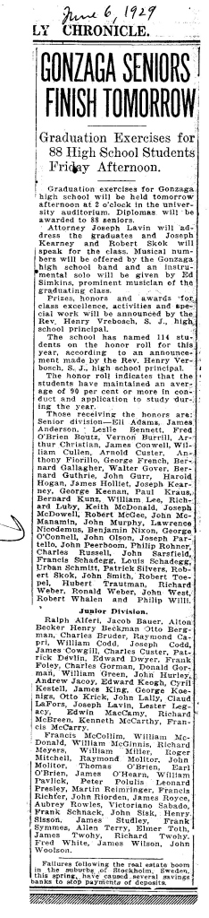 Article about Gonzaga 1929 Graduation class.
