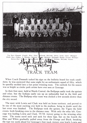 Gonzaga Track team a little more information