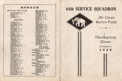 1932 Thanksgiving Dinner March Field, Riverside, CA 64th Service Squadron