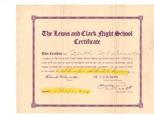 Lewis and Clark certificate