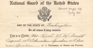 Honorable Discharge National Guard 1931