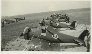 A row of planes at the ready