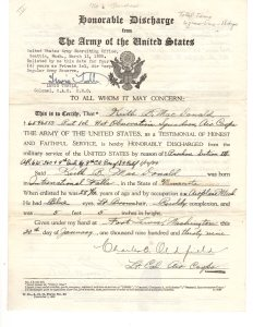 Honorable Discharge Jan 1939 and reenlistment in Regular Army Air Corps Reserve.