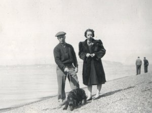 Hilary and Vivian on a beach about 1942