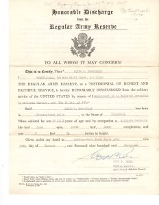 On January 24, 1941 Keith was Honorably Discharged from the Regular Army Reserve.