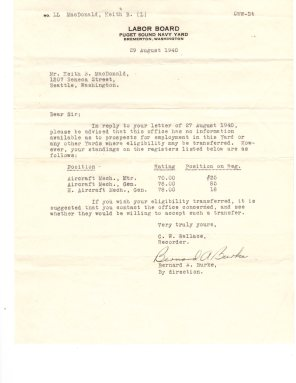 Puget Sound Navy Yard letter 1941.
