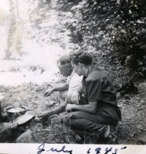 Roscoe and Jean doing sometime they loved, camping...