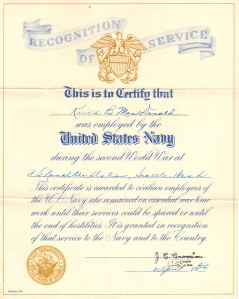War Service Certificate 1946 given by U.S. Navy