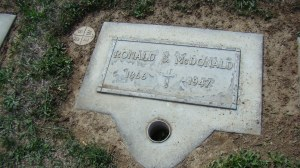 Ronald S. McDonald's Tombstone in the Calvary Cemetery in Yakima, WA