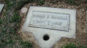 Ronald S. McDonald's Tombstone in the Calvary Cemetery in Yakima, WA