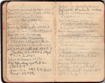 A page from the Auto Log book