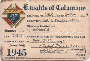 Knights of Columbus membership 1945