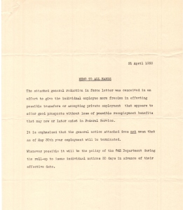 April 2 1953, Reduction in Force