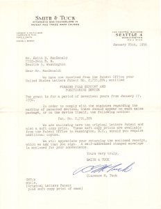 1956 Smith & Tuck letter explaining the Patent issued