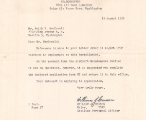 August 1952 Job Hunt