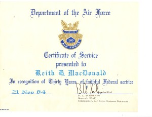 Certificate for 30 years of Federal Service