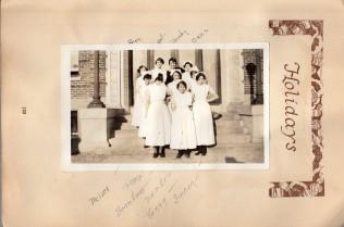 Nurses in group photo on steps